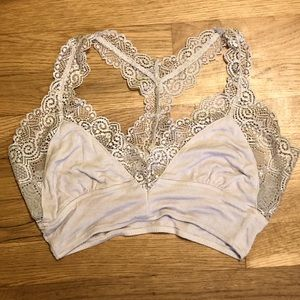 Light Gray Bralette with Lace Details Size Small